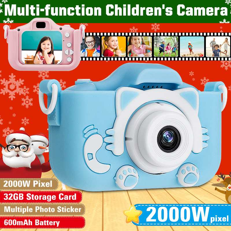 20 Million Pixels Children Mini Dual Lens Digital Video Camera Rechargeable Sports Camera With Storage Card Gift For Children