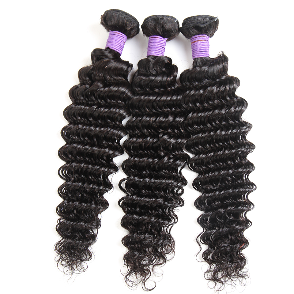Queenlike Hair Products 100% Human Hair Bundles Non Remy Hair Weave Bundles Brazilian Deep Wave