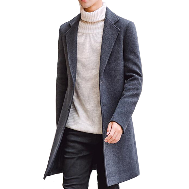 2018 Autumn And Winter New Fashion Boutique Solid Color Casual Business Men's Long Woolen Coats / Mens Grey Long Woolen Jackets