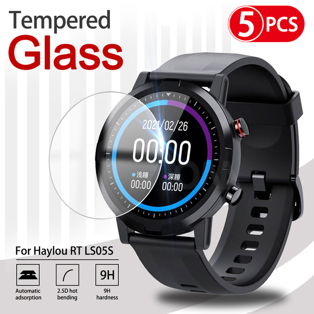 5Pcs 9H Premium Tempered Glass For Xiaomi Smart Watch Youpin Haylou RT LS05S Solar LS05 Screen Protector Film Accessories