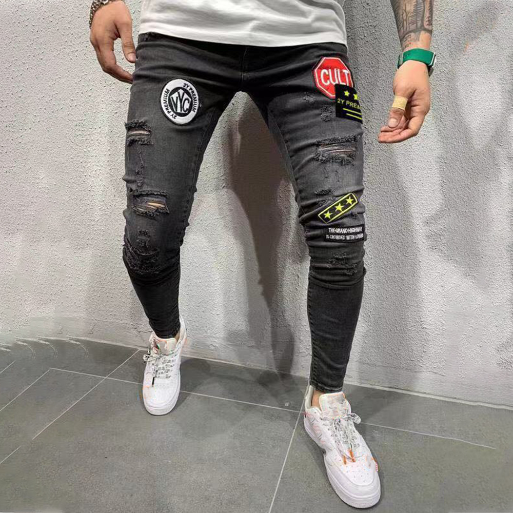 Skinny Jeans Men Stars Patches Vintage Denim Trousers Hole Ripped Jeans for Mens Streetwear Hip Hop Male Pencil Pants jean D25
