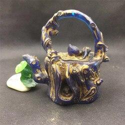 Chiński rękodzieło niebieski gurda czajnik brzoskwiniowy czajniczek pomyślny prezent wyposażenie domu bezpieczne i pomyślne dekoracje Fengshui