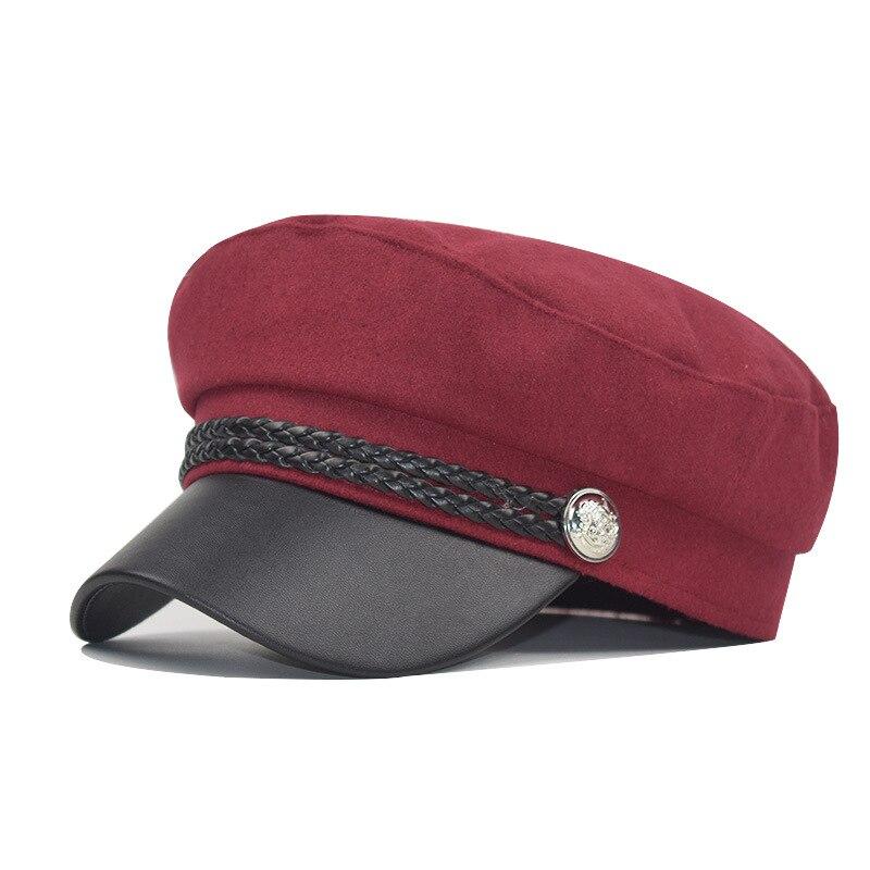 Зимняя женская Повседневная Военная шляпа винтажная мягкая хлопковая шерстяная плоский берет восьмиугольная кепка Модная элегантная женская шапка высокого качества - Цвет: wine red