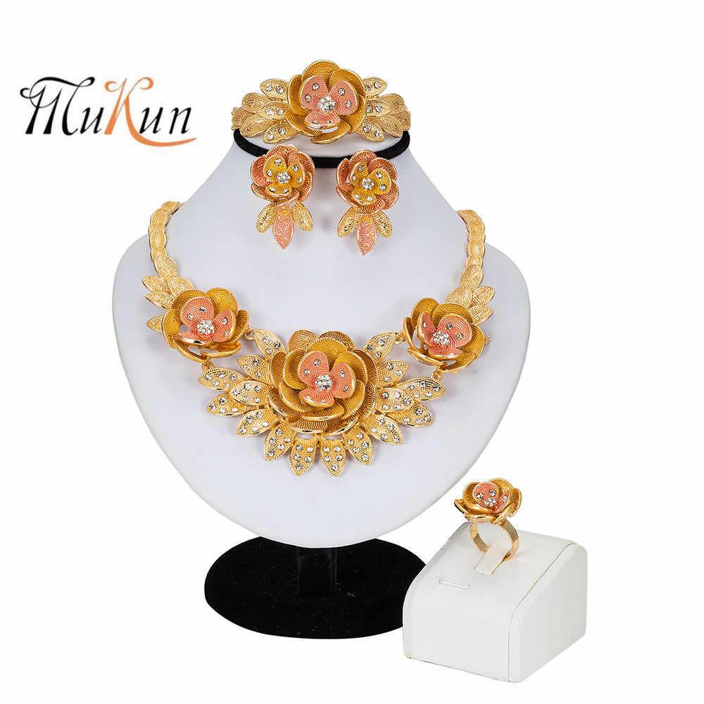 Ensemble de bijoux africains collier de fleurs Bracelet Dubai ensemble de bijoux en or pour femmes bijoux de fête de mariage boucles d'oreilles de mariée anneau bijoux