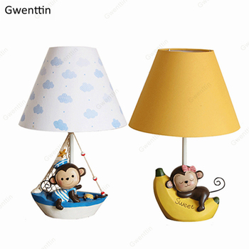 Cartoon Monkey Table Lamps Resin Dimmable Standing Desk Led Light Fixtures for Children's Room Bedroom Decor Luminaire Kid Gifts