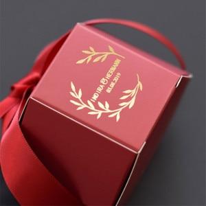 Image 4 - Angepasst Wein Rot Kreative Marmorierung Stil Candy Boxen Hochzeit Gefälligkeiten Dekoration Partei Liefert Baby Papier Geschenk Box DIY Logo