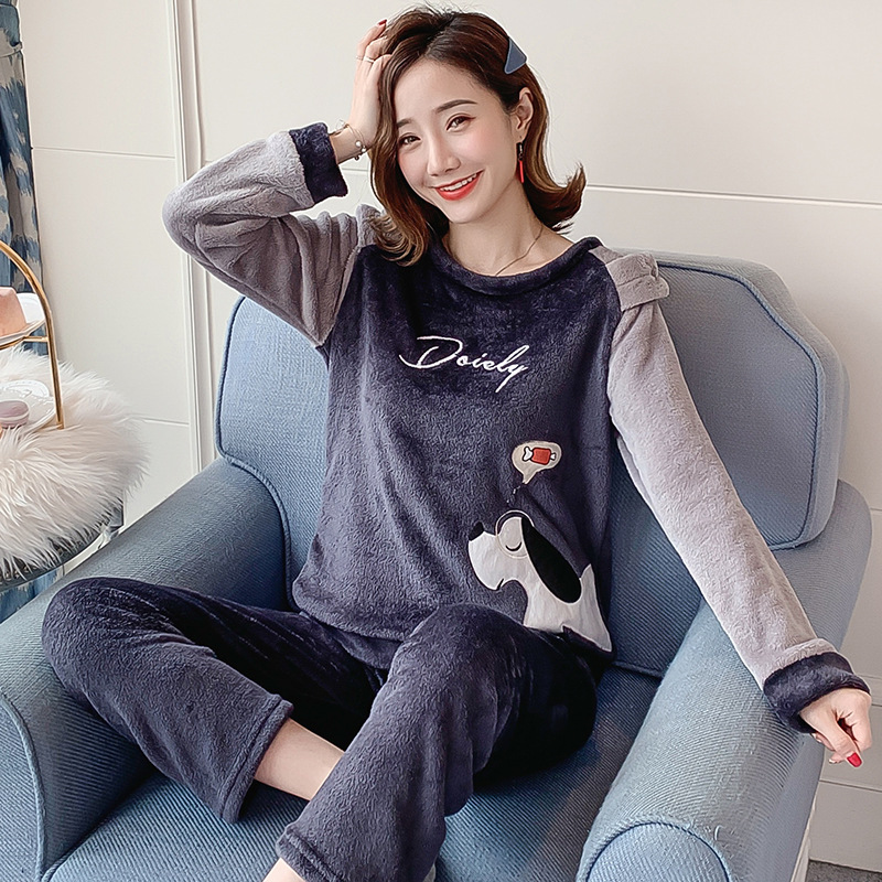 Autumn Winter Flannel Cartoon Cute Pajamas Long Sleeve Pyjamas Women Pijama Mujer Loungewear Home Clothes Sleep Set Nightwear 25