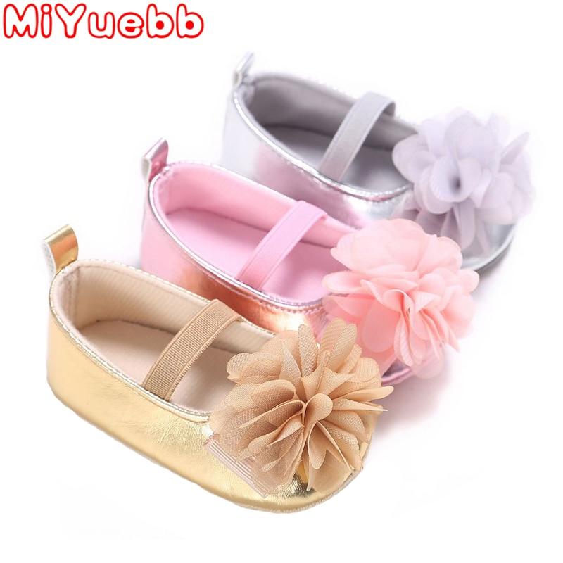 New PU Leather Golden Silver Pink Newborn Baby Kid PreWalkers Shoes Princess Girl Mary Jane Big Flower Soft Soled Anti-slip Shoe