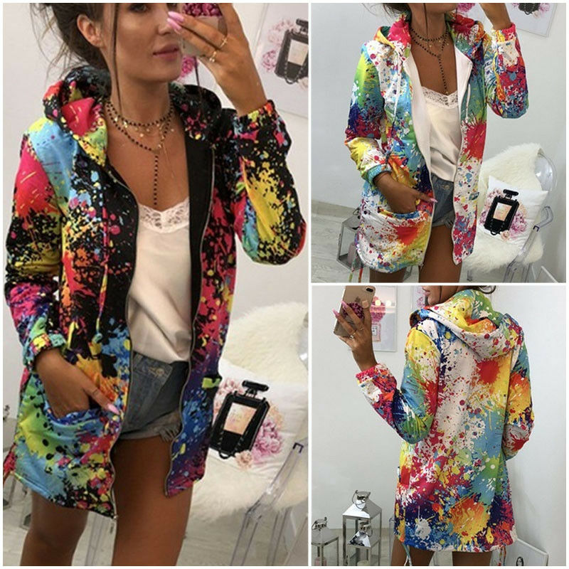 Women's Long Sleeve Hooded Colorful Windbreaker Jacket Floral Print Zipper Coat Splash-Ink