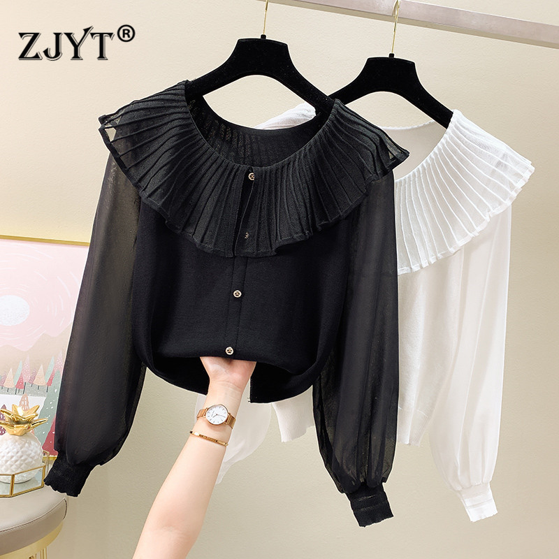 Korean Fashion Long Sleeve Ruffles Collor Knitted Tops Women Summer Ins T Shirts Solid White Black Casual Tees Female