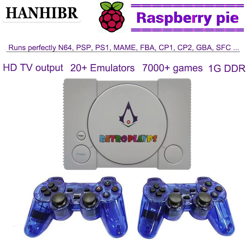 HANHIBR Raspberry Pi console HD TV video game console retropi system n64 games ps1 psp games pi boy built-in 7000  games gamepad