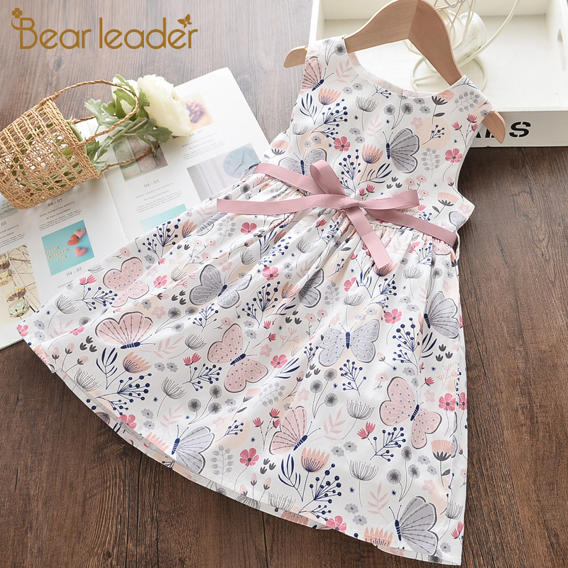 Bear Leader Girl Princess Dress New Summer Kid Girls Dress Floral Sweet Children Party Suits Butterfly Costume Children Clothing 1