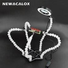 Newacalox suporte de solda, 5 peças de ferro de solda flexível com clipe de jacaré ajustável para trabalho diy estação de solda