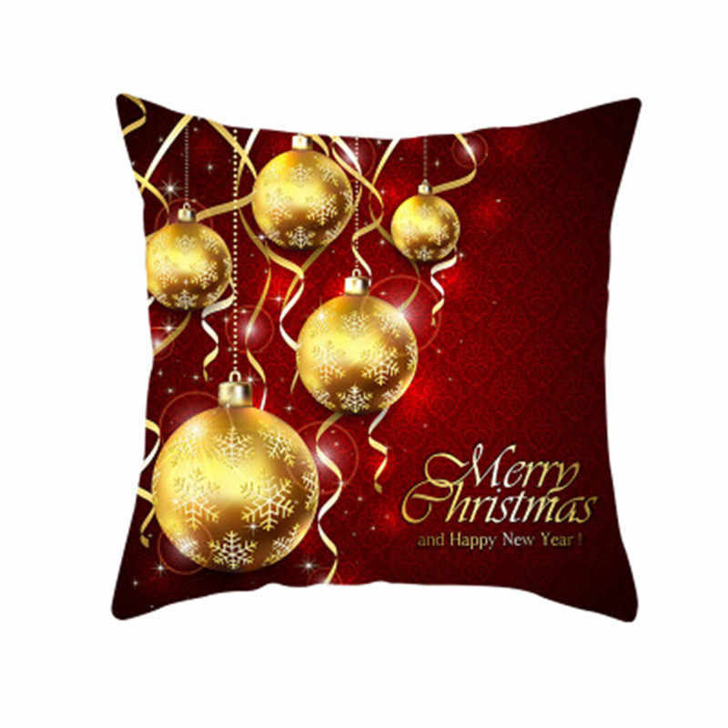Merry Christmas Pillow Case printed Polyester Sofa Decorative Cushion Cover for Home 2020 Xmas Ornaments Gifts 5Z