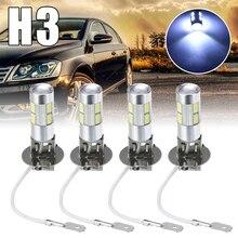 Car Light Parts 4pcs H3 5630 10SMD LED Fog Driving Auto Turn Signal Lamp Brake Tail Parking Bulb White