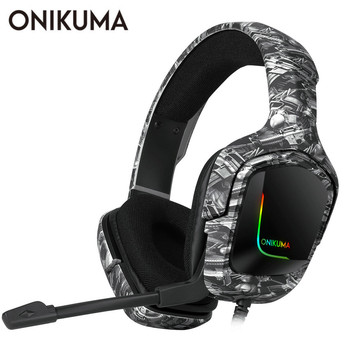 ONIKUMA K20 Wired Headphones With Microphone RGB Light Gaming Headsets Noise Cancelling Earphones For PS4 Xbox One Headset Gamer eksa gamer headset 7 1 surround sound gaming headphon e900 pro wired game headphones for pc xbox ps4 with noise cancelling mic