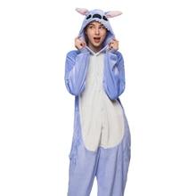 Adult Animal Stitch Kigurumi Pjamas Sets Women Anime Cosplay Costume Winter Sleepwear Jumpsuit Onesies For Adults