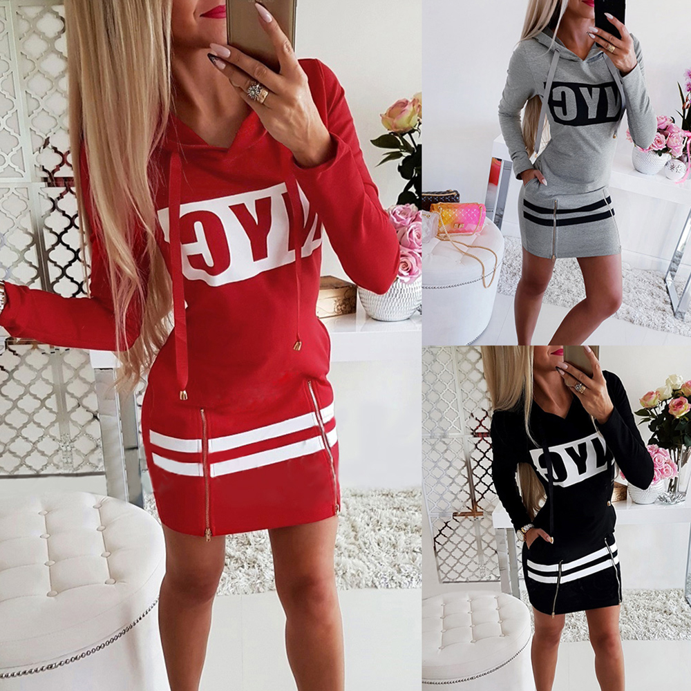 Letter Print Hooded Long Sleeve Sweatshirt Dress Women Autumn Spring Loose Hoodie Casual Red Gray Black Clothes Shirt Dresses