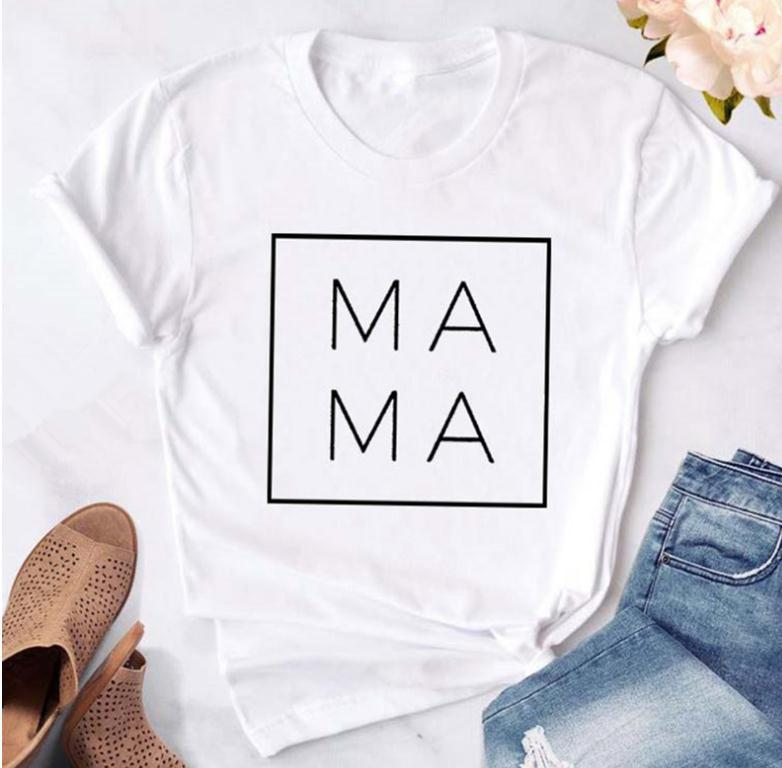 MAMA Letter Print T Shirt Women Short Sleeve O Neck Loose Tshirt 2020 Summer Women Tee Shirt Tops Camisetas Mujer