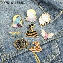 Broche en émail Animal nocturne, broches, loup, chauve-souris, serpent, renard, lune, soleil, étoile, noir, Punk, amoureux, Couple, bijoux
