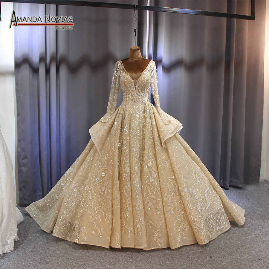 Wedding Dress bridal gown 2019 sleeves bridal dress full beading sparkling