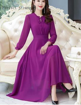 2020 Spring New Arrival  High Quality Plus Size S-3XL Round Collar Long Sleeve Women Chiffon Dress