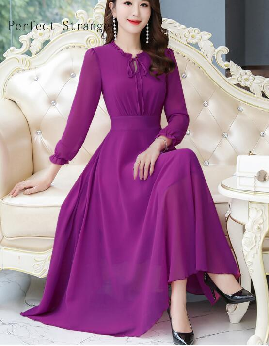 2020Spring New Arrival  High Quality Plus Size S-3XL Round Collar Long Sleeve  Women Chiffon Long Dress