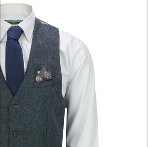 Image 2 - 2020 ternos dos homens lã 3 peças dois botão tweed terno espinha de peixe verificar retro peaky blinders costurado ajuste novo