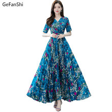 Plus Size 2021 New Summer Vintage Women Dresses Casual Short Sleeve Chiffon Elegant Lady Dress Fashion Print Floral Beach Dress