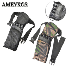 1pcs Archery Arrow Quiver Black Camouflage 4 Tubes Belt  Strap Waist Hanging Arrows Bags Outdoor Hunting Shooting Accessorie недорого