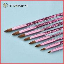 TIANMI – brosse à ongles acrylique de Sable Kolinsky de beauté rose avec flux de liquide, brosse à ongles à paillettes pour outils de Nail Art