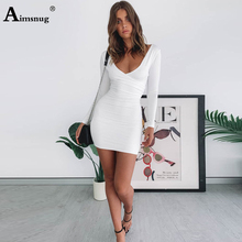 Aimsnug Sexy Solid White Slim Deep V-neck Double Splice Long Sleeve Hip 2019 New Autumn Elegant Women Mini Dress