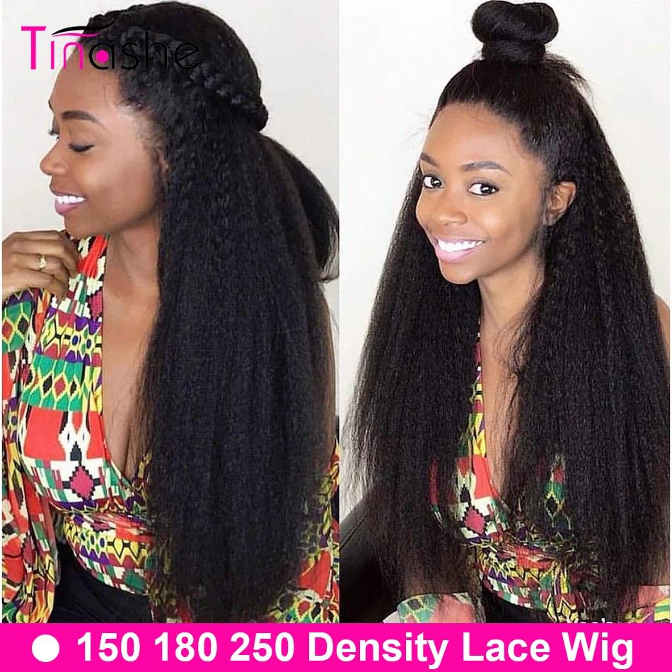 Tinashe-peluca recta rizada con encaje Frontal cabello humano prearrancado, densidad del 250, 360, Yaki brasileño