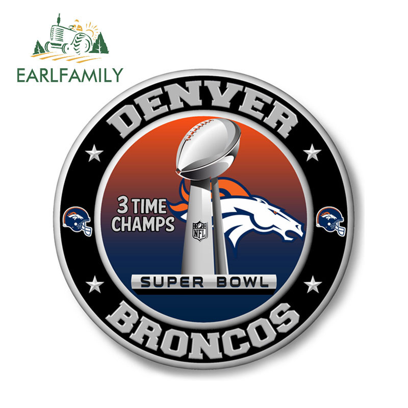 EARLFAMILY 13cm X 13cm FOR Denver Broncos Super Bowl Championship Sticker Decal Car Styling Waterproof Car Stickers