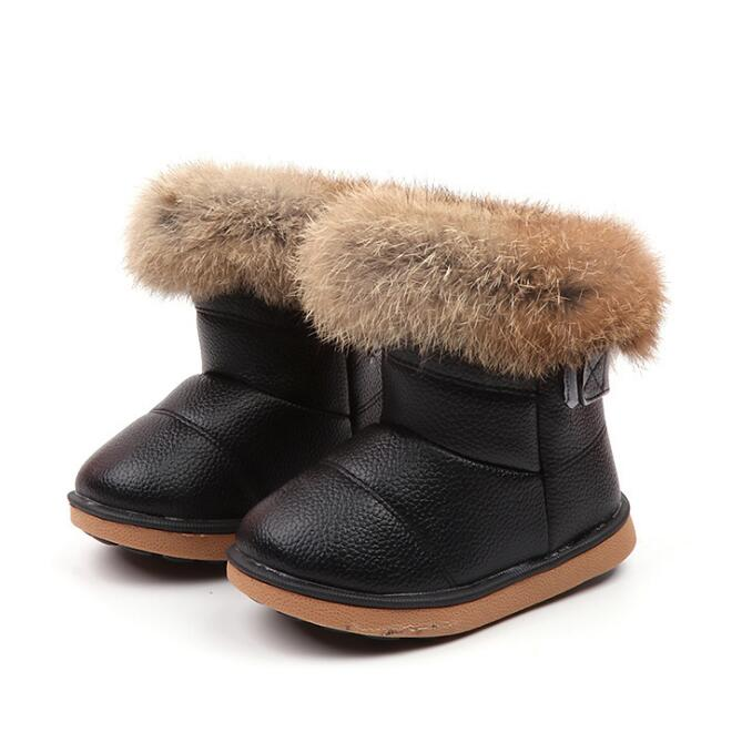 Real Rabbit Fur Children Winter Boots For Baby Girls Soft Leather Girls Boys Snow Boots Warm Plush Shoes 4 Color Size 21-30