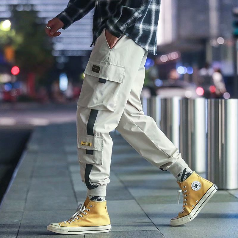 Casual Pants 2019 Spring Clothing New Style Loose Bib Overall Solid Color Men's Velcro Beam Leg Multi-pockets Pants Fashion