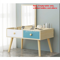 Modern Simple Bedroom Makeup Dresser With Drawer Large Storage Space Beech Wood Led Mini Dressing Cabinet Mirror Foldable Table