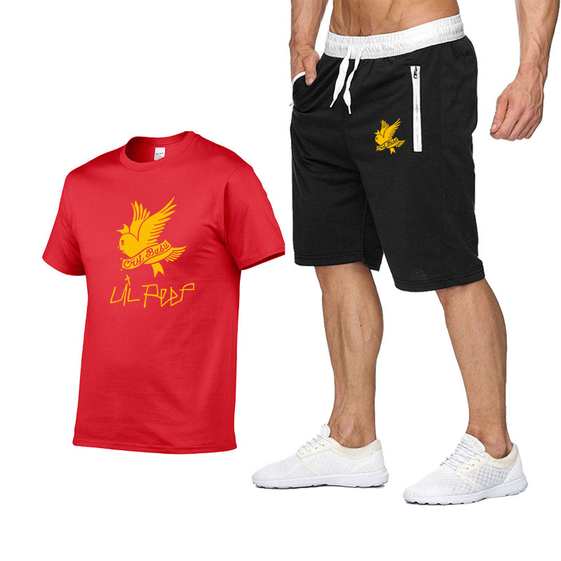 Lil Peep Brand Fun T-Shirt/cropped Pants Print Men's Suit Casual Fitness Shorts Men Crying Baby Short Sleeve European Plus Size