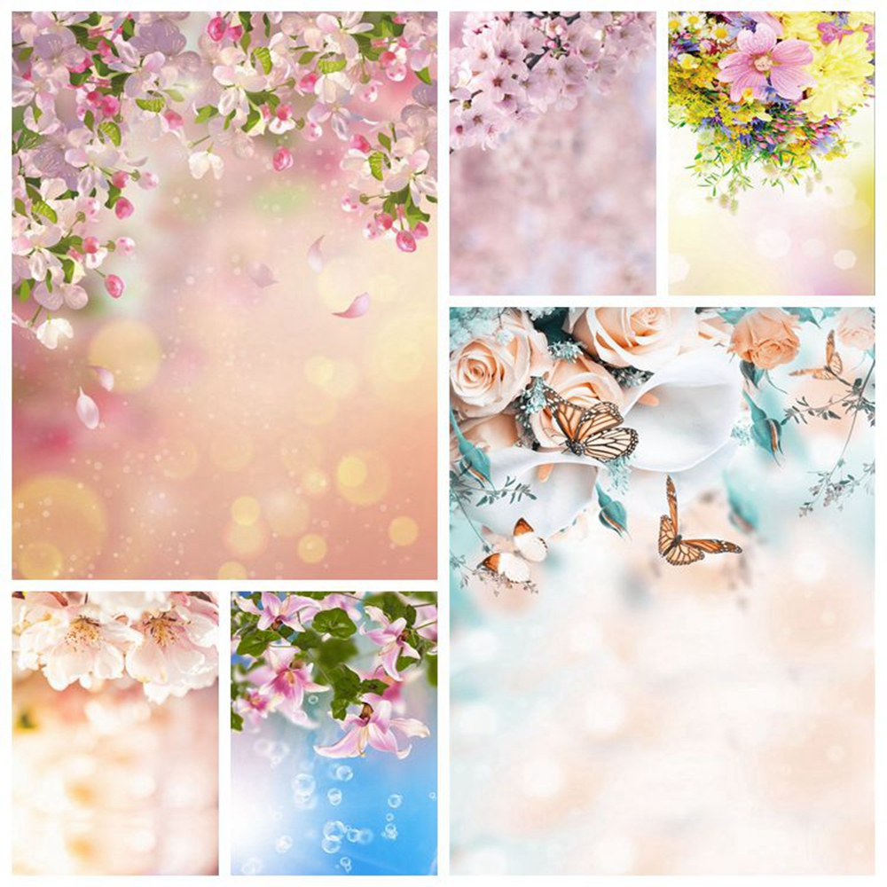Spring Pink Flower Butterfly Easter Baby Shower Birthday Backdrop Photography Background For Photo Studio Vinyl Photophone Shoot