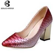 BONJOMARISA New 33-43 Fashion mixed-color Fretwork Pumps Women 2019 Autumn Party Wedding High Heels Shoes Woman Sexy Footwear