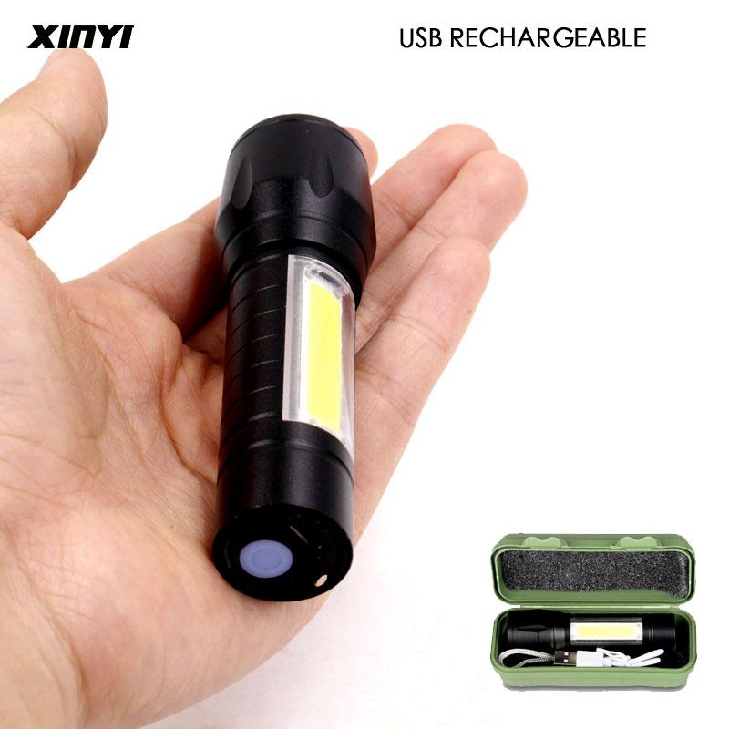 Портативный светодиодный фонарик с зарядкой по USB, COB + XPE встроенный аккумулятор, тактический фонарь, 3 режима работы, аварийный светильник