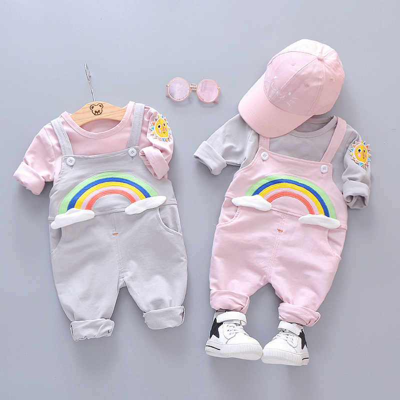 New Autumn 2019 Baby Cotton Suit Korean version toddler boys clothing set Boys and Girls T shirt Belt and Trousers Two Kids Suit in Clothing Sets from Mother Kids
