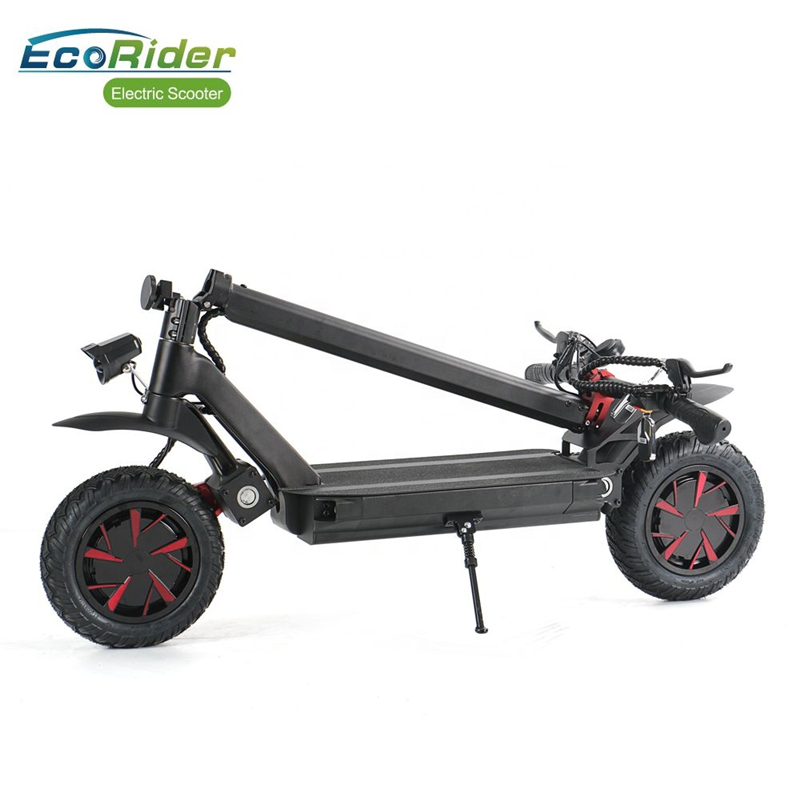 Ecorider Off Road Folding Electric E Scooter 3600w Powerful Weped 10inch Fat Tire Dual Motor With Full Suspension For Adult