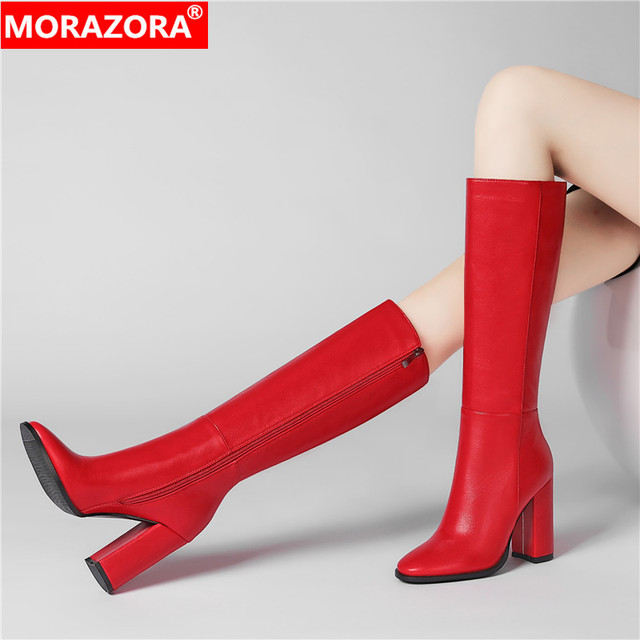 New women boots zipper thick high heels