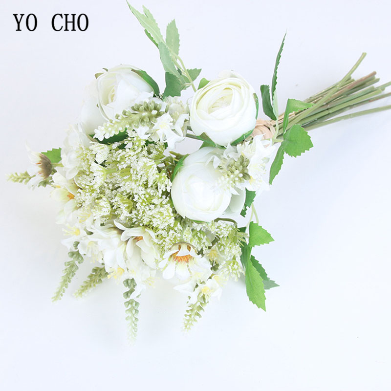 YO CHO Bridal Wedding Bouquet Artificial Silk Rose Peony Baby's Breath Bouquet Bridesmaids Holding Flower Home Wedding Supplies