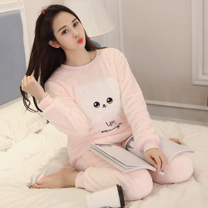 New 2020 Autumn Winter Warm Flannel Women Pyjamas Sets Thick Coral Velvet Long Sleeve Cartoon Sleepwear Flannel Pajamas Set Girl