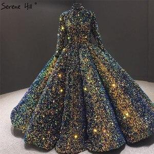 Image 3 - Serenhill robe de mariée musulmane rose, en paillettes, robe de mariée luxueuse, manches longues, scintillante, sur mesure, HA2068, 2020