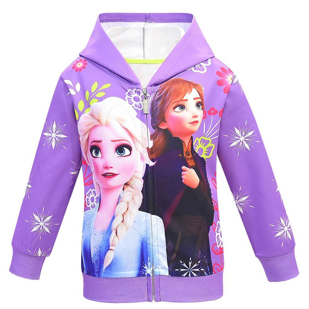 Girls Hoodies Cartoon Lisa Anna Princess Printed Autumn Spring Toddler Hoodie Zipper Cardigan Sweatshirt Girls Fashion Jacket 5