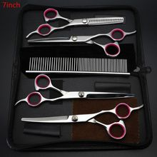 5 Pcs Professional Pet Dog Grooming Scissors Set Straight Curved Shears Kit Perfect Thinning with Comb