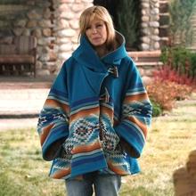 Kobiety płaszcz zimowy kurtka ciepłe wełniane płaszcz z rogowa klamra z nadrukiem z kapturem kurtki Vintage etniczne styl płaszcz znosić tanie tanio Litthing Z wełny Poliester long Women Coats Osób w wieku 18-35 lat Przycisk klaksonu REGULAR Pełna A-LINE Wool Indie Folk